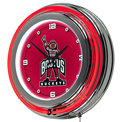 NCAA Ohio State University Chrome Double Ring Neon Clock, - University State Neon Clock