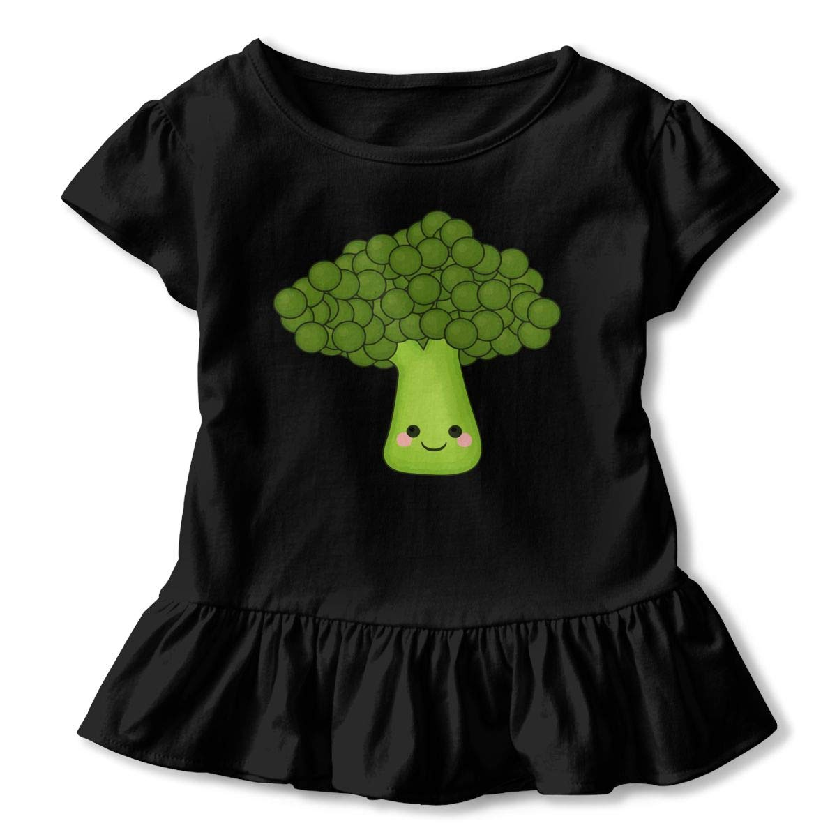 Cute Broccoli Baby Girls Short Sleeve Ruffles T-Shirt Tops 2-Pack Cotton Tee