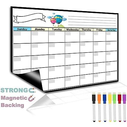 Calendario magnético de borrado en seco para nevera mensual Ztent ...