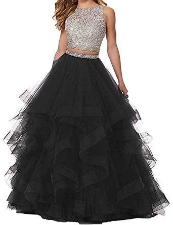 0a295beca0a vimans Two Pieces Long Prom Dresses 2019 Layered Evening Ball Gowns Size 2  A Black