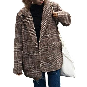 Killysufuy - Abrigo de Cuadros para Mujer, diseño Vintage, Cuello abatible, Cierre de un botón: Amazon.es: Hogar