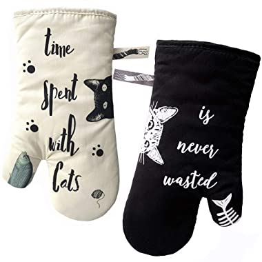 GREVY Oven Mitts Heat Resistant Cooking Glove 100% Cotton Lining 12 (Ivory and Black Cat,Potholder Kitchen Gloves,Set of 2)