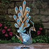 "Bits and Pieces - Solar Peacock Sculpture - Metal Garden Art - Outdoor Lawn and Patio Décor - Backyard Sculpture and Decoration - Solar Animal Statue - 22"" x 13"" x 9 1/2"""