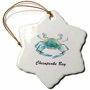 3dRose orn_128181_1 Chesapeake Bay Blue Crab Maryland-Snowflake Ornament, Porcelain, 3-Inch
