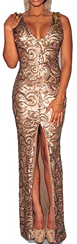 made2envy Sequined Deep V Neck Front Slit Maxi Gown