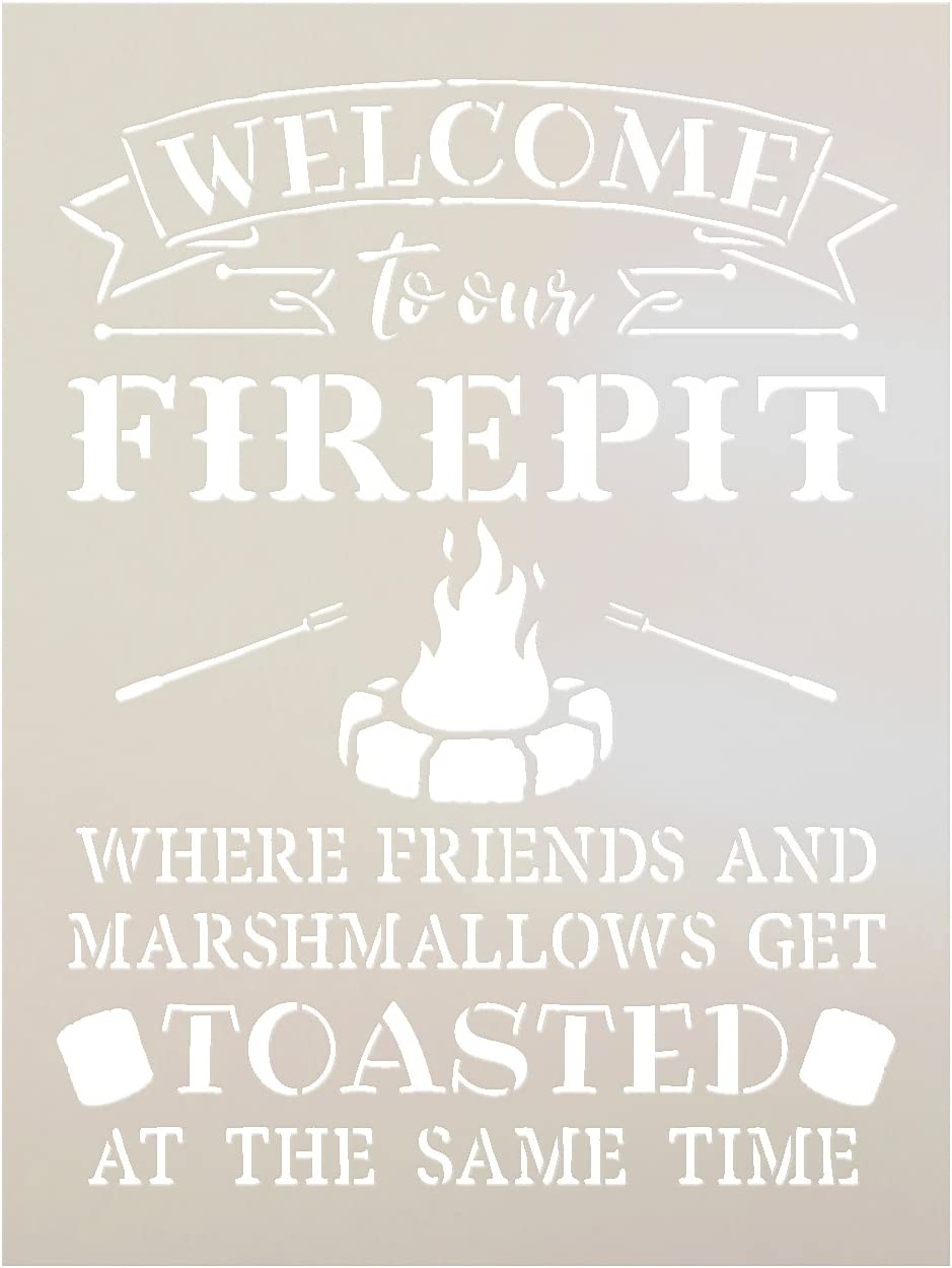 Welcome to Our Firepit Stencil by StudioR12   Rustic and Fun - Reusable Mylar Template   Painting, Chalk, Mixed Media   Crafting, DIY Home Decor (9