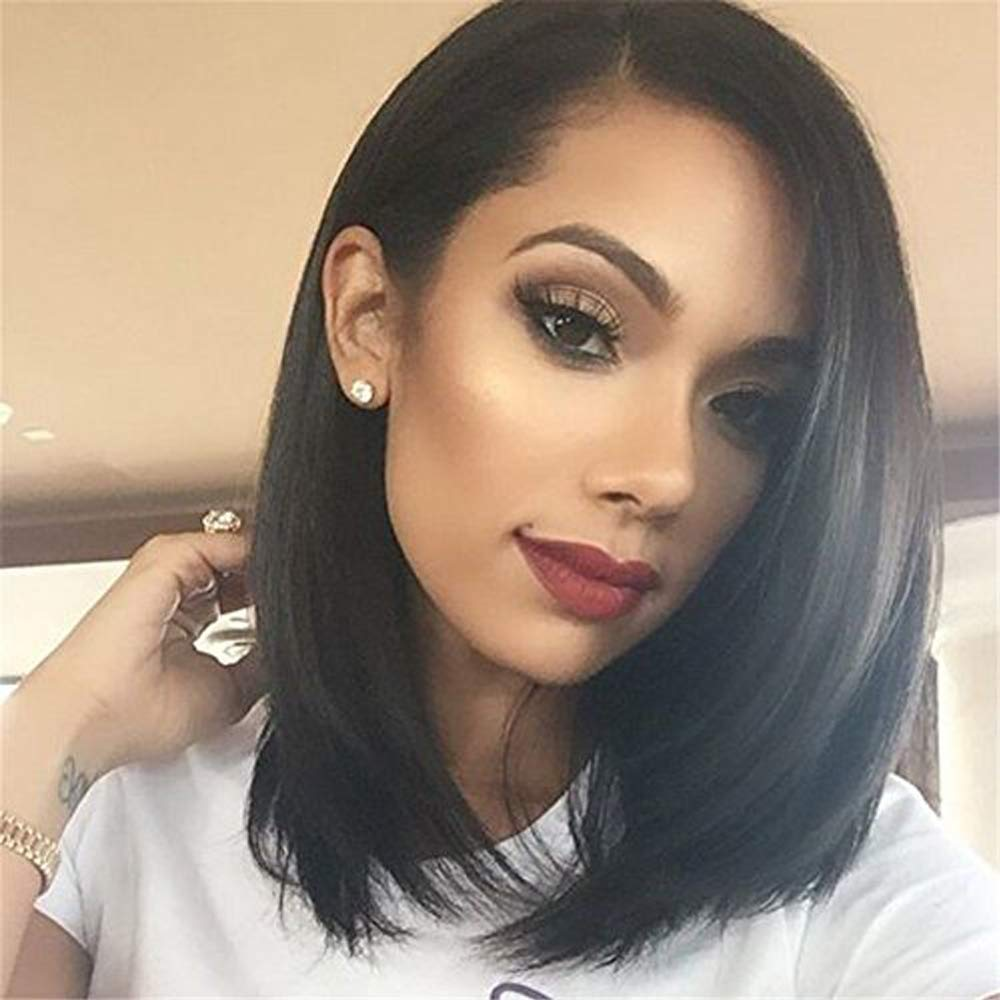 14'' Bob Wigs Short Straight Synthetic Hair Full Wigs for Women Natural Looking Heat Resistant by N&T