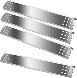 Zemibi Heat Shield Tent Plate Grill Replacement Parts 15 1/8'' for Master Forge 1010048 Gas Grill Models, Stainless Steel BBQ Repair Kits, Burner Cover, Flame Tamer, Flavorizer Bar, Pack of 4, Sliver