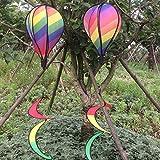Delight eShop Striped Rainbow Windsock Hot Air Balloon Wind Spinner Garden Yard Outdoor Decor