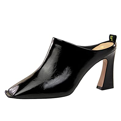 d53bc8b52c3 Latasa Women s Square-Toe High Heel Mules (4.5