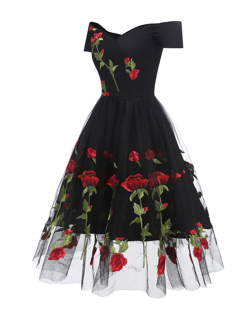Aofur Women's Vintage Style Rose Embroidered 1950s Rockabilly Evening Party Lace Swing Tea Dress A Line Dresses (XX-Large, Black_Red_Rose) by Aofur (Image #4)