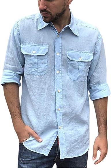 Subfamily Top de Camisa de Manga Larga Casual de Algodón y Lino con Botón de Solapa para Hombre Moda Casual Estilo Étnico Camisa de Vestir de Manga Larga Delgada Blusa Tops: Amazon.es: