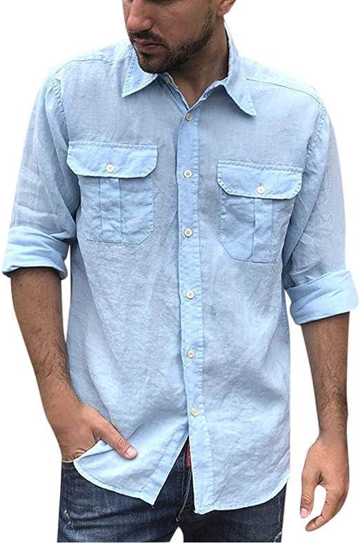 Men/'s Linen Turn-down Casual Shirts NEW Men Collar Long Sleeve Dress Shirt Tops