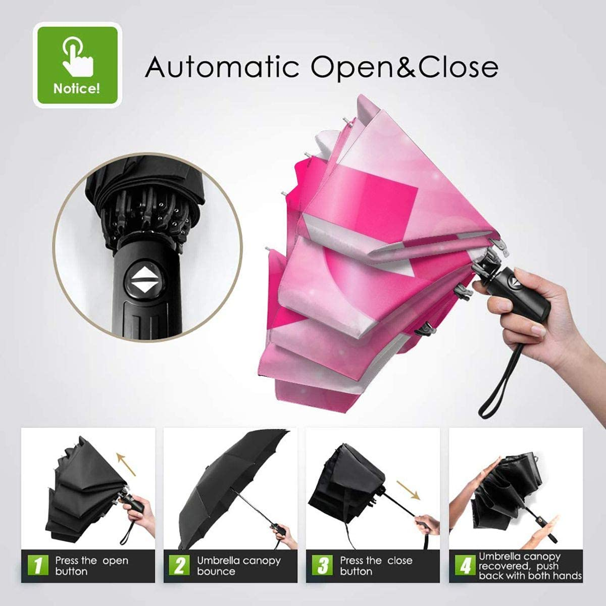 10 Ribs RLDSESS Pink Travel Folding Umbrella Ladies 42 Inches Rainproof Men Automatic Opening and Closing,Pink Butterfly with Ribbon for Breast Cancer,Windproof
