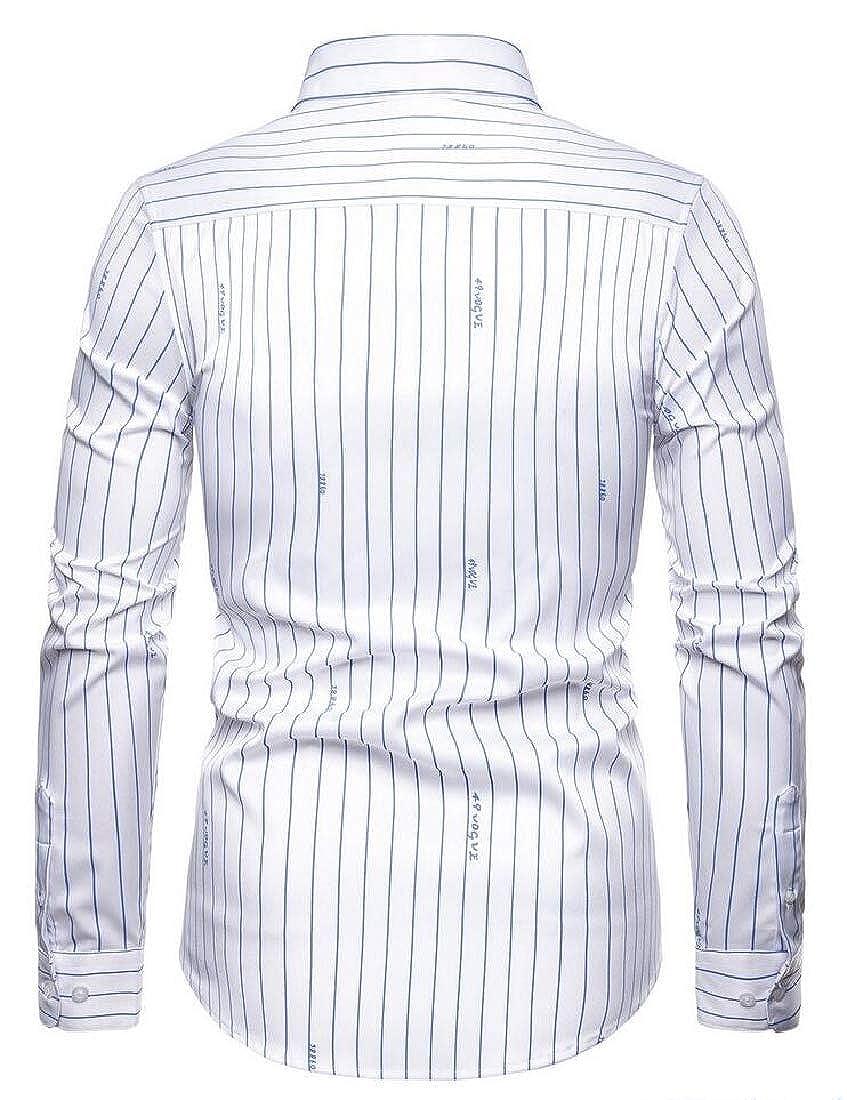 Keaac Mens Fashion Long Sleeve Slim Fit Cotton Dress Casual Button Down Shirt