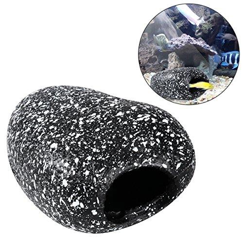 UEETEK Fish Tank Decor Cichlid Snowflake Stone Bream Pot Hideaway Breeding Cave for Aquarium Decor - Size S