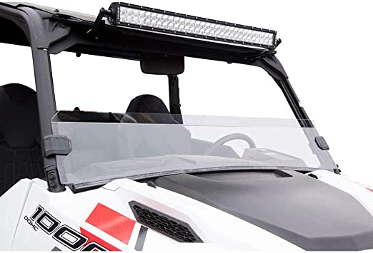 Scratch Resistant Fits Polaris GENERAL 4 1000 EPS 2017-2019 Tusk Removable Full Windshield Clear
