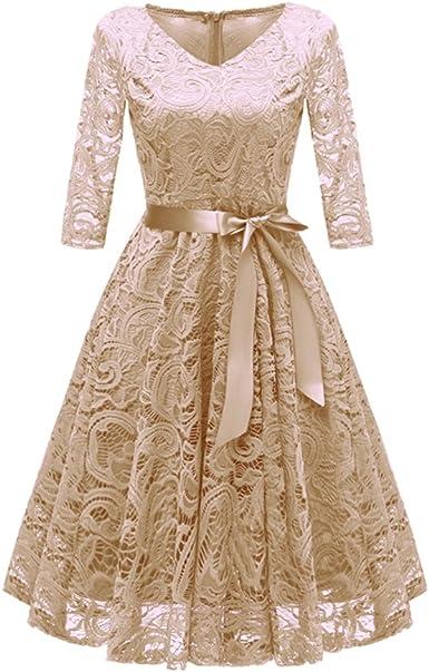 Moda Vestiti Eleganti 2018.Tienew 2018 Nuova Moda Vintage Donna Pizzo Casuale Vestito Slim