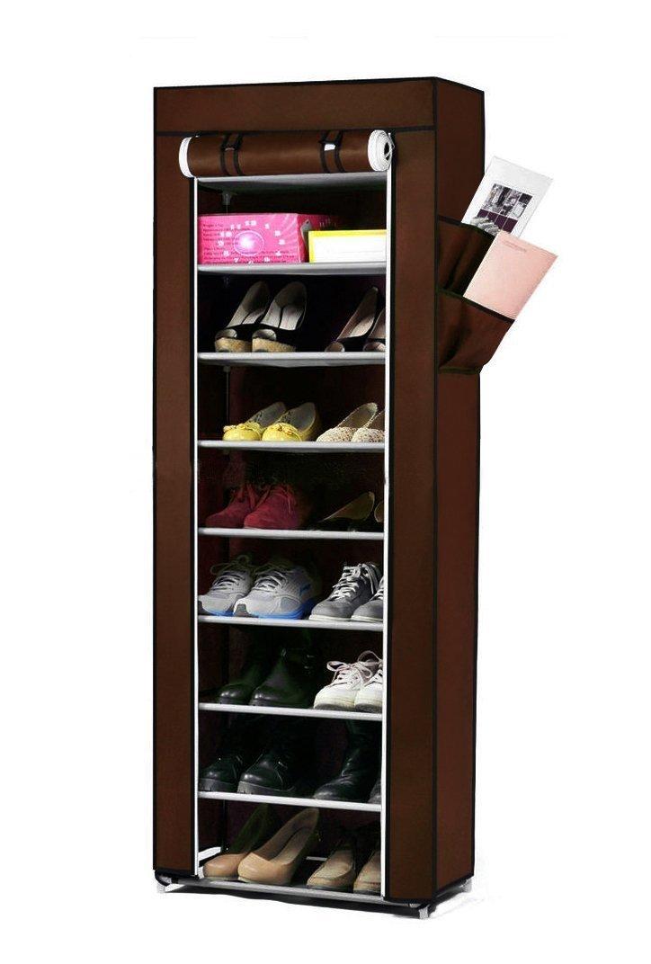 Pindia Fancy Fabric Shoe Rack Organizer, 10 Layers, Brown