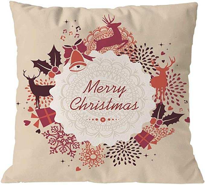 Shan-S Merry Christmas Rose Gold Pink Letter Printed Square Pillowcases Cushion Throw Pillow Covers with Zipper for Bedroom Living Room Sofa Home Xmas Decor for Girls and Woman