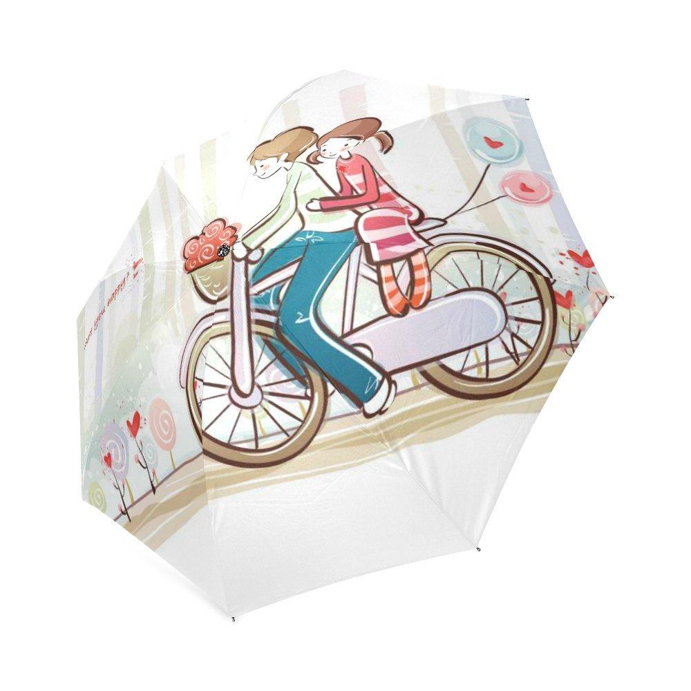 chic Cartoon Couple Classic Umbrella Windproof foldable Compact Rain Travel Umbrella