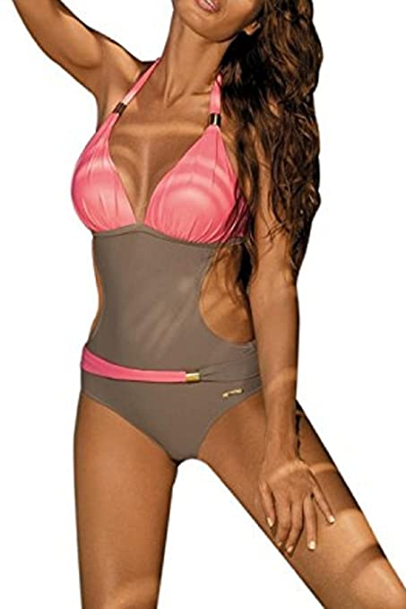 Topwigy Women's One Piece Bikini Bandage Halter Backless Sexy Swimwear Beachwear Bathing Suit with Jewelry Padded Push Up Tankini Swimsuit (Light Blue L)