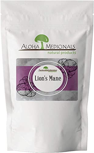 Aloha Medicinals Pure Lion's Mane - Certified Organic Mushrooms Hericium Erinaceus Health Supplement Supports Mental Health, Nerve Growth, Immune System 1 Kilo Bag Powder