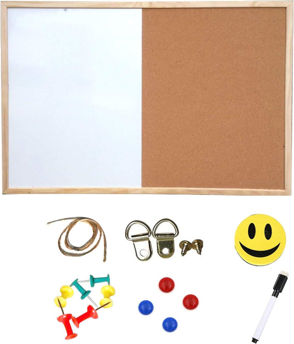 Dry Erase Board and Cork Bulletin Board Combination,11.8x15.7 Inch Combo Whiteboard Cork Message Board for Office Home Decor (S)