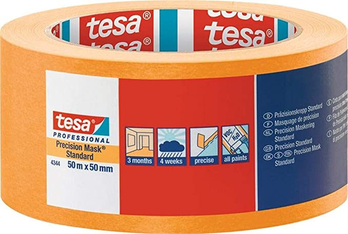 TESA 4344 Lot de 3 bandes de pr/écision standard Beige clair 50 m x 50 mm