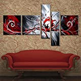 100% Hand-painted Modern Abstract Oil Painting on Canvas Peacock Pictures Wall Art for Living Room 5 Piece Black White Red