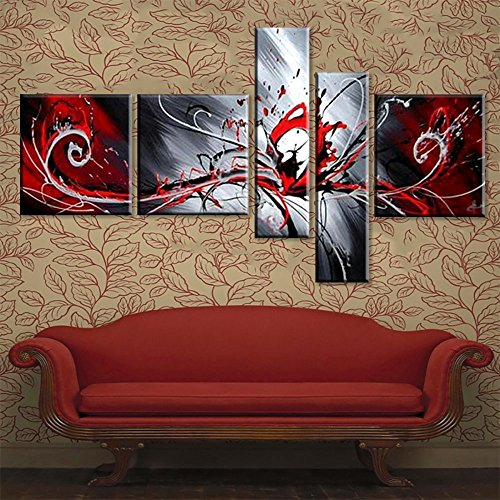 100% Hand-painted Modern Abstract Oil Painting on Canvas Peacock Pictures Wall Art for Living Room 5 Piece Black White Red by Yatsen Bridge