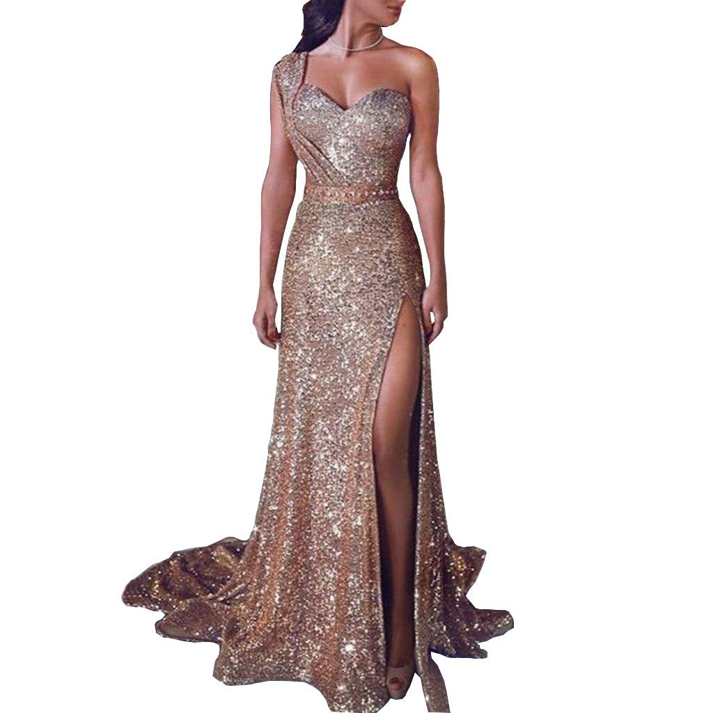 Women Dress Sequin Prom Party Ball Gown Sexy Gold Evening Bridesmaid Long Dress V Neck Pure Color Lace Skirt Sheath Top