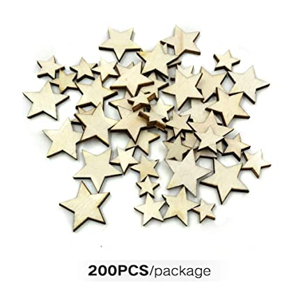 200pcs 10//20mm Unfinished Wood Shape Star Embellishment for Scrapbooking