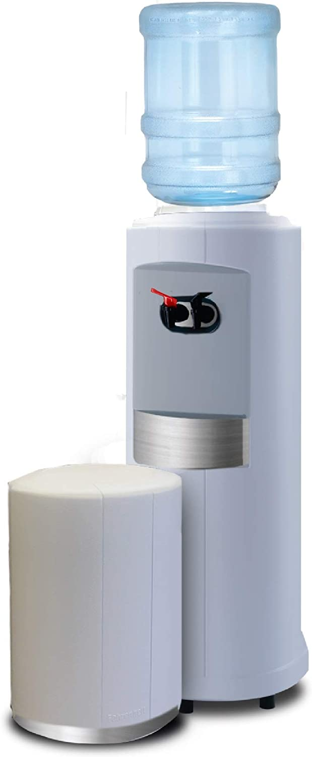 White with Silver Metallic Fahrenheit Free-Standing Hot and Cold Water Cooler Finish