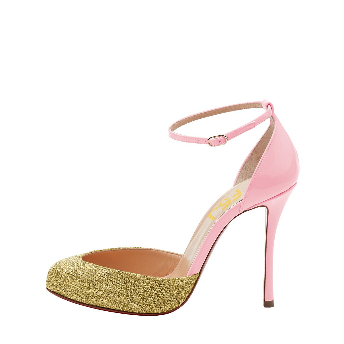 FSJ Women Fashion Almond Toe Ankle Heels Strap D'Orsay Pumps High Heels Ankle Party Prom Sandals Size 4-15 US B0781W2P7R 13 B(M) US|Pink 1d7805