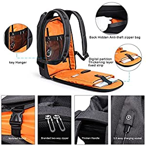 Tocode Laptop Backpack Anti Theft, 17.3'' New Fashion Casual Personality Backpack Travel Rucksack, with USB Charging Port, Waterproof Large Compartment Computer Daypack for Men School/Sport