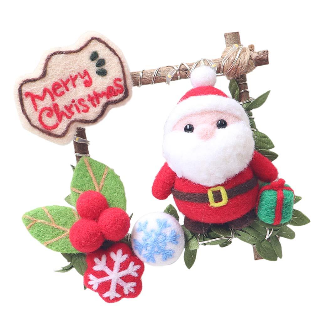 B Baosity Kit Alce Babbo Natale in Feltro di Lana a Mano Diy Carina Natalizio Rattan Anello Infeltrimento Casa Decora - #4, 7 x 5,5 x 4,5 cm