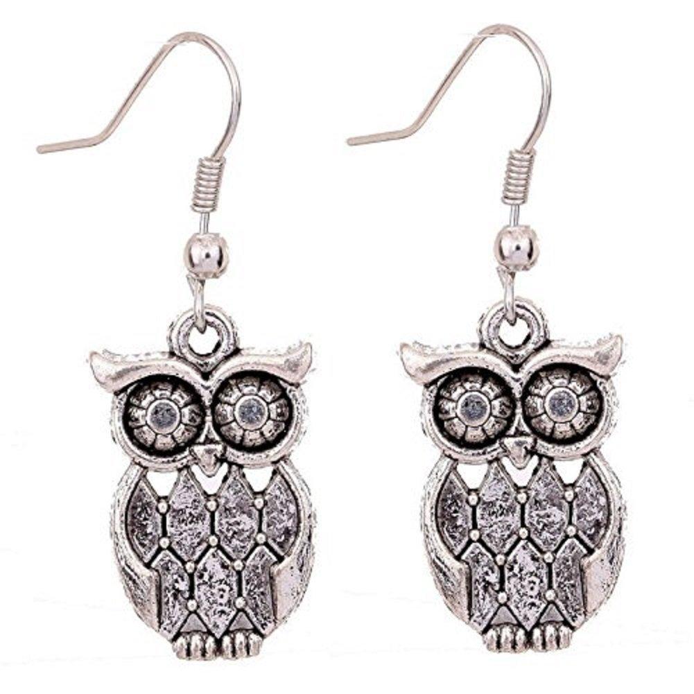 Tibetan Silver antique latticed pattern owl Ear Wire Hook Dangle Earrings