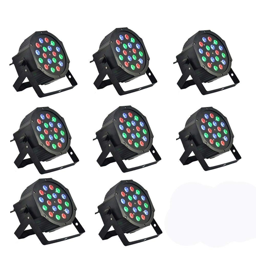 8 Piece Up-Lighting - Full RGB Color Mixing LED Flat Par Can - 18 LEDs per light - Red, Green and Blue color mixing - Up-Lighting - Stage Lighting - Dance Floor Lighting -DMX Control- High-Ray OuYang ouyang-111