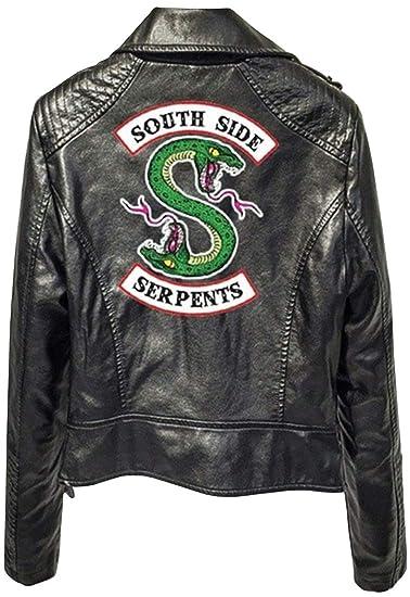 Southside Jacke Serpents Streetwear Kunstleder Damen Druck Emilyle Riverdale Bauchfrei 53Aj4RL