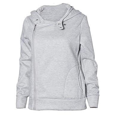MEIbax Sudaderas con capucha Camiseta de Manga Larga para Mujer con Cremallera Lateral Bolsillo con Capucha Tops GY L: Amazon.es: Ropa y accesorios