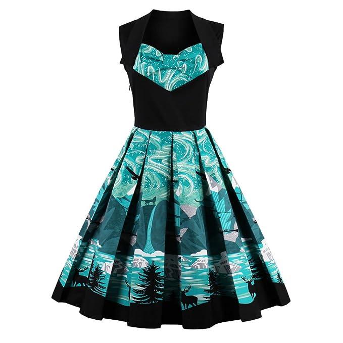 Vintage Dress estampados florales cortos de lujo una línea verde Patchwork vestido de fiesta Vestido Vintage vestidos: Amazon.es: Ropa y accesorios