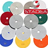 quartz countertops polish - 4 inch wet dry diamond polishing pads - For Granite Concrete Travertine Marble Polishing 7 Pcs Set By STADEA