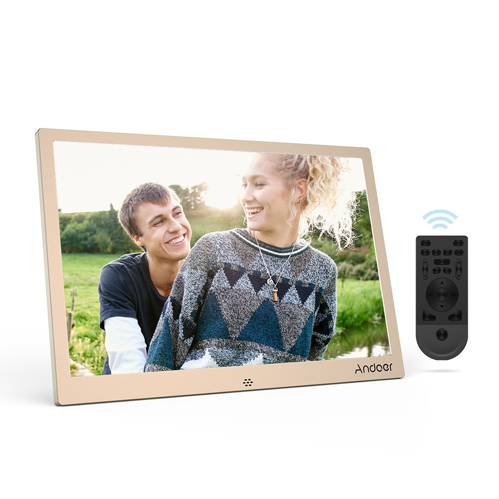Andoer 12 inch Digital Photo Frame with Music 1280 * 800 LED 1080P Video Random Play Aluminum Alloy with Remote Control Max Support 32GB for Valentine's Day Birthday Gift
