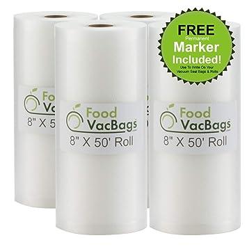 TWO 8x50 FoodVacBags 4 mil Embossed Vacuum Sealer Rolls for FoodSaver machine