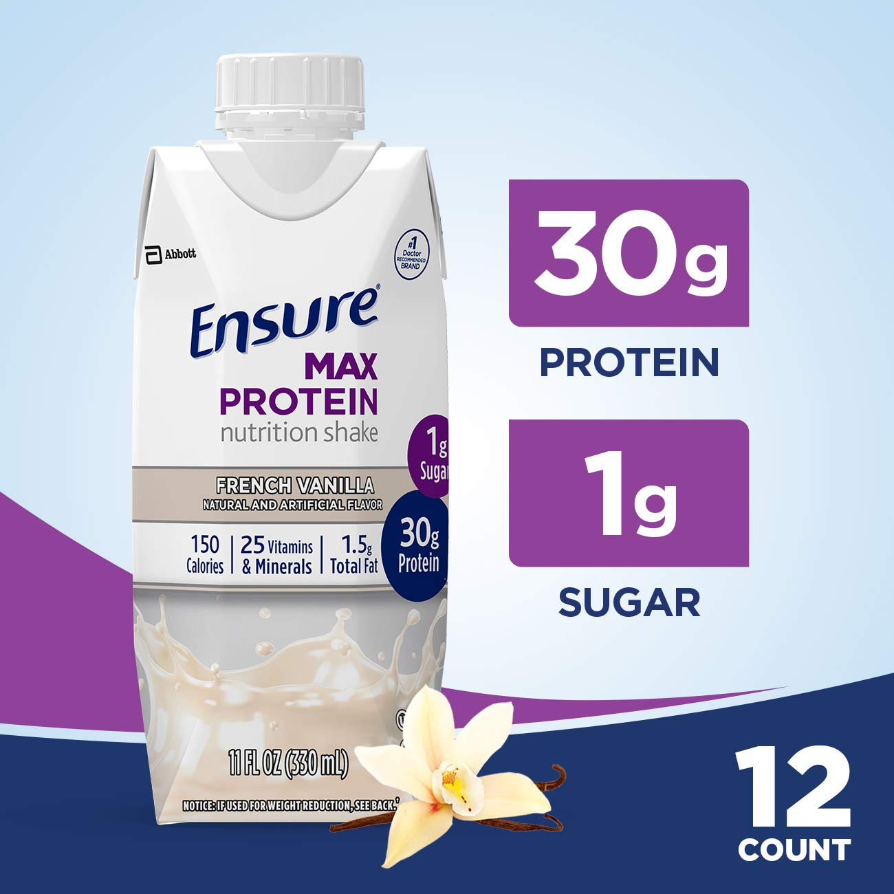 Ensure Max Protein Nutritional Shake with 30g of High-Quality Protein, 1g of Sugar, High Protein Shake, French Vanilla, 11 fl oz, 12 Count by Ensure