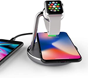 Mangotek Watch Charger and iPhone Wireless Charging Station, Qi Fast Charge Dock with Watch Charger Module Compatible with Apple iWatch,iPhone iPhone12/12 Mini/ 12Pro /12Pro Max/11/11 Pro/X/XS/XR/8