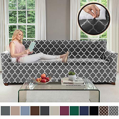 Gorilla Grip Original Velvet Fitted 1 Piece Oversized Sofa Slipcover, Stretch Up to 78