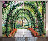 Ambesonne Country Home Decor Curtains 2 Panel Set, Flower Arches with Pathway in Ornamental Plants Garden Greenery Romantic Picture, Living Room Bedroom Decor, 108 W X 90 L Inches, Green Red