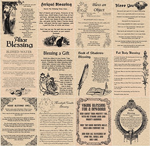 Set of 12 Blessings, Book of Shadows Spells Pages, Wicca, Witchcraft, Wiccan Blessings (Copper)